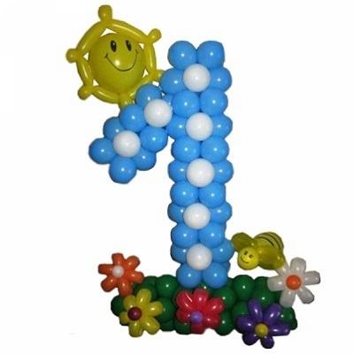 Цифра 1 из воздушных шаров на 1 годик
