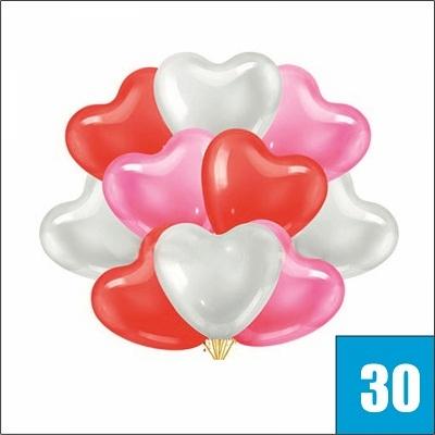 Купить гелиевые шары в виде сердца 30 штук