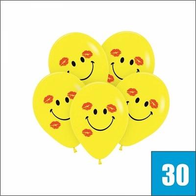 30 шаров с поцелуями желтые