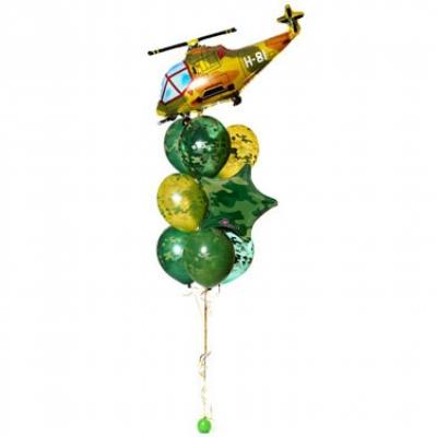 Фонтан из шаров «Военный вертолёт»