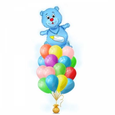 Оформление квартиры на встречу сына из роддома набором шаров Медвежонок синий
