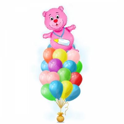 Набор шаров на выписку девочки - Розовый медвежонок