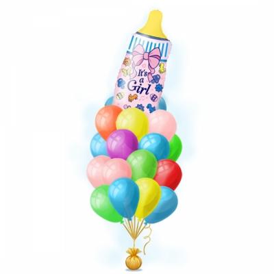 Набор воздушных шароков с гелием для новорожденной девочки - Бутылочка розовая