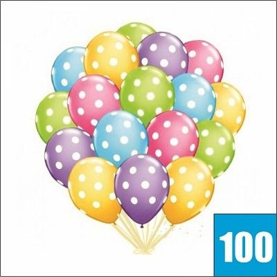 Летающие шары с гелием с разноцвытными кругляшками