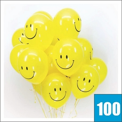 Желтые шары с улыбкой сто штук