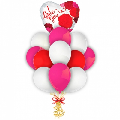 Связка ярких шариков с романтичным сердцем