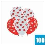 100 красных и белых шаров с поцелуями