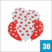30 красных и белых шаров с поцелуями