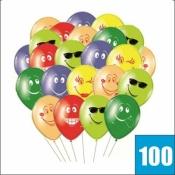 100 разноцветных шаров со смайлами