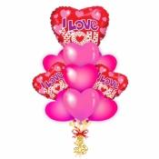 Композиция с розовыми сердцами