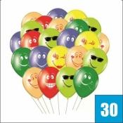 30 разноцветных шариков со смайлами в связке