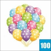 100 Летающих шариков с гелием с разноцветными кругляшками