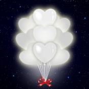 Связка белых светодиодных сердец