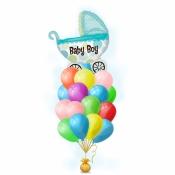 Связка шариков на выписку – Голубая коляска мальчик