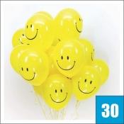 Воздушные шарики смайлики 30 штук