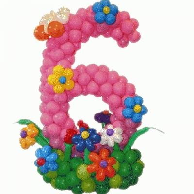 Делаем цифру 6 из воздушных шаров