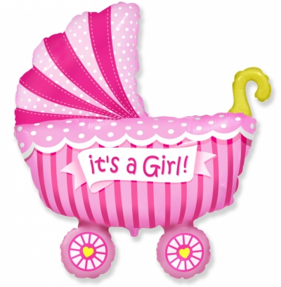 Воздушный шар с гелием Коляска розовая